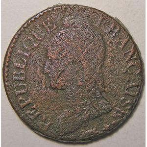 Photo numismatique Monnaies Françaises 5 Centimes Gadoury 126b. Dupré