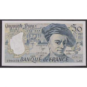 50 Francs Quentin de la Tour 1991, L.69, SUP+