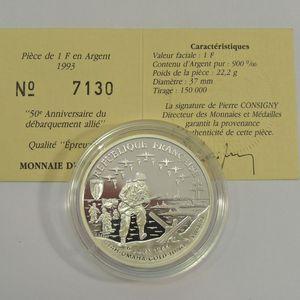 50ème Anniversaire du débarquement, 1 Franc 1993 BE FDC, Gad: C38