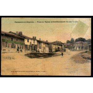51 - PASSAVANT EN ARGONNE (Marne)  - Place de l'Eglise et Etablissements Goulet Turpin