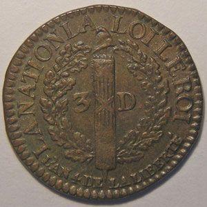 Photo numismatique Monnaies La Révolution 3 Deniers Type François (constitution)