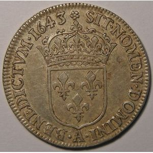 Photo numismatique Monnaies Royales Françaises LOUIS XIII (1610-1643) 1/4 Ecu 2ème poinçon de Warin