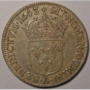 Photo numismatique Monnaies Royales Françaises LOUIS XIII (1610-1643) 1/4 Ecu 2ème poinçon de Warin