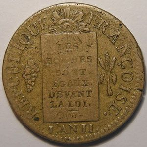 Photo numismatique Monnaies La Révolution Sol aux balances (convention)