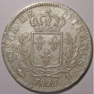 Photo numismatique Monnaies Françaises 5 Francs Gadoury 591. Louis XVIII buste habillé