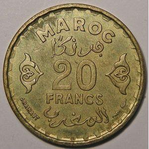 Photo numismatique Monnaies Etrangères Maroc 20 Francs