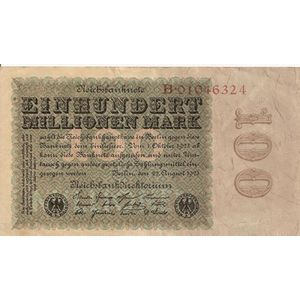 Photo numismatique Billets Billets Allemagne 100 Millionen Mark