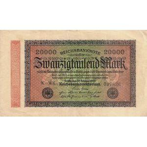 Photo numismatique Billets Billets Allemagne 20.000 Mark