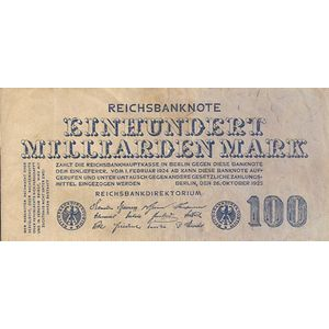 Photo numismatique Billets Billets Allemagne 100 Milliarden Mark