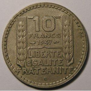 Photo numismatique Monnaies Françaises 10 Francs Gadoury 811. Turin en Cupro-Nickel petite tête