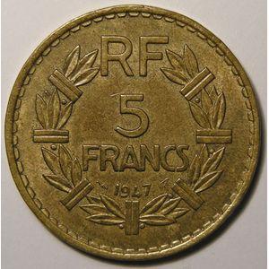 Photo numismatique Monnaies Françaises 5 Francs Gadoury 761a. Lavrillier en Bronze Aluminium