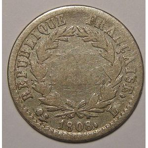 Photo numismatique Monnaies Françaises 1/2 Franc Gadoury 398. Napoléon Ier au revers REPUBLIQUE