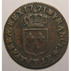 Photo numismatique Monnaies Royales Françaises LOUIS XV (1715-1774) 1/2 Sol à la vieille tête