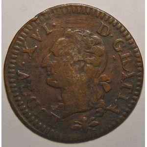 Photo numismatique Monnaies Royales Françaises LOUIS XVI (1774-1792) Liard