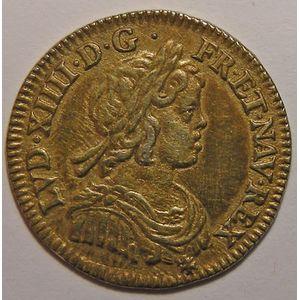 Photo numismatique Monnaies Royales Françaises LOUIS XIV (1643-1715) 1/12ème d'écu à la mèche courte