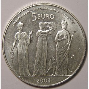 Photo numismatique Monnaies Euros Saint Marin 5 Euro