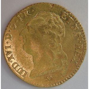 Photo numismatique Monnaies Royales Françaises LOUIS XVI (1774-1792) Louis d'or à la tête nue