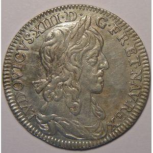 Photo numismatique Monnaies Royales Françaises LOUIS XIII (1610-1643) 1/4 Ecu, 1er poinçon de Warin