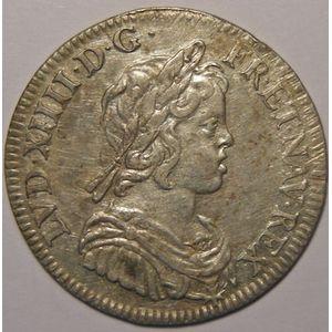 Photo numismatique Monnaies Royales Françaises LOUIS XIV (1643-1715) 1/4 Ecu à la mèche courte