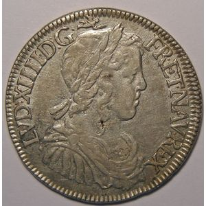 Photo numismatique Monnaies Royales Françaises LOUIS XIV (1643-1715) 1/2 Ecu à la mèche longue