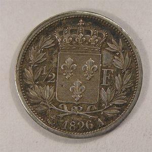 Photo numismatique Monnaies Françaises 1/2 Franc Gadoury 402. Charles X