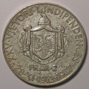 Photo numismatique Monnaies Etrangères Albanie 2 Franga