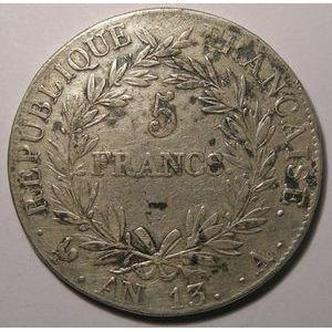 Photo numismatique Monnaies Françaises 5 Francs Gadoury 580.Napoléon Empereur