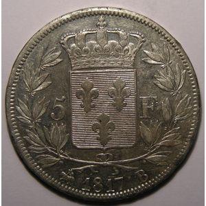 Photo numismatique Monnaies Françaises 5 Francs Gadoury 614.Louis XVIII Buste nu