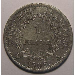 Photo numismatique Monnaies Françaises 1 Franc Gadoury 446. Napoléon I revers République