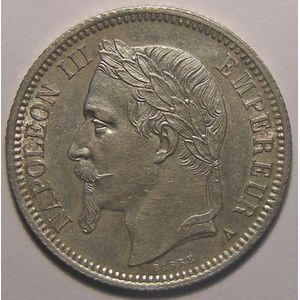 Photo numismatique Monnaies Françaises 1 Franc Gadoury 463. Napoléon III, tête laurée