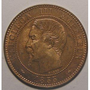 Photo numismatique Monnaies Françaises 2 Centimes Gadoury 103. Napoléon III, tête nue