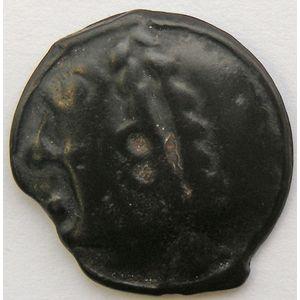 Photo numismatique Monnaies Gauloises Séquanes Potin à la grosse tête laurée