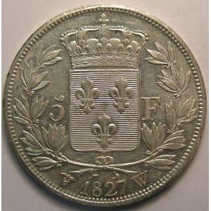 Photo numismatique Monnaies Françaises 5 Francs Gadoury 644. Charles X 2ème type