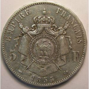 Photo numismatique Monnaies Françaises 5 Francs Gadoury 734. Napoléon III tête nue