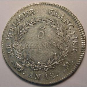 Photo numismatique Monnaies Françaises 5 Francs Gadoury 577. Bonaparte Premier Consul