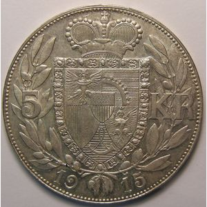 Photo numismatique Monnaies Etrangères Liechtenstein 5 Kronen