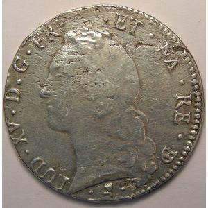 Photo numismatique Monnaies Royales Françaises LOUIS XV (1715-1774) Ecu de Béarn au Bandeau
