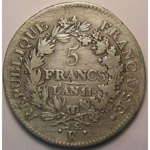 Photo numismatique Monnaies Françaises 5 Francs Gadoury 563a. Union et Force