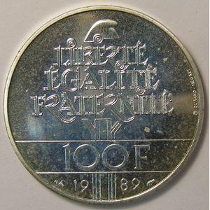 Photo numismatique Monnaies Françaises 100 Francs Gadoury 904. Droits de l'Homme