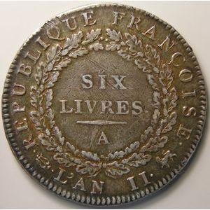 Photo numismatique Monnaies La Révolution Ecu de 6 Livres Convention ( Françoise)