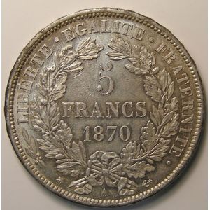 Photo numismatique Monnaies Françaises 5 Francs Gadoury 743. Cérès avec légende