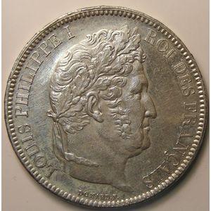 Photo numismatique Monnaies Françaises 5 Francs Gadoury 677a. Louis-Philippe I  Var tr en relief