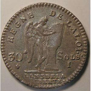 Photo numismatique Monnaies La Révolution 30 Sols Constitution (François)