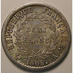 Photo numismatique Monnaies Françaises 1/2 Franc Gadoury 398. Napoléon Ier au revers REPUBLIQUE