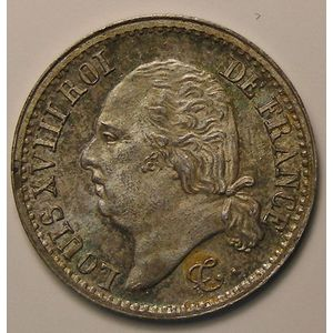 Photo numismatique Monnaies Françaises 1/4 de Franc Gadoury 352. Louis XVIII