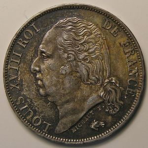 Photo numismatique Monnaies Françaises 1 Franc Gadoury 449. Louis XVIII