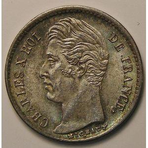 Photo numismatique Monnaies Françaises 1/4 de Franc Gadoury 353. Charles X