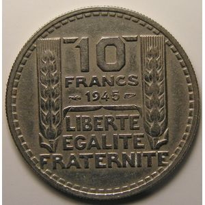 Photo numismatique Monnaies Françaises 10 Francs Gadoury 810. Turin en Cupro-Nickel grosse tête