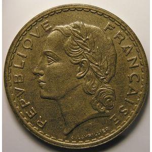 Photo numismatique Monnaies Françaises 5 Francs Gadoury 761. Lavrillier en Bronze-Aluminium