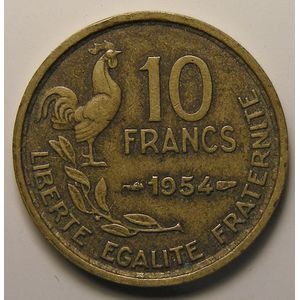 Photo numismatique Monnaies Françaises 10 Francs Gadoury 812. 10 Francs Guiraud